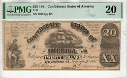 1861 20 Confederate States Of America Note Currency T-18 Pmg Very Fine 20 066