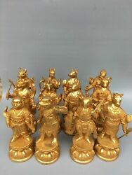 Old Antique Tibetan Buddhism Temple Dynasty 24k Gilt Chinese Zodiac Statue