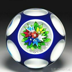Saint Louis 1979 Upright Bouquet Encased Overlay Magnum Glass Paperweight