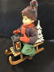 12 Tall Hummel Porcelain Doll, Sleigh, Tree And Lantern. Ride Into Christmas 1991