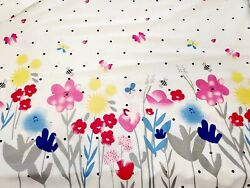 Flowers and Bees Apparel Cotton Fabric Border Print By the Yard