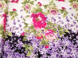 Lilacs and Roses Apparel Cotton Fabric Border Print By the Yard