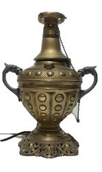 Antique Brass Electrified Oil Kerosene Lamp With Pewter Dolphin Serpent Handles