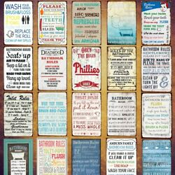 Vintage Retro Metal Tin Signs Toilet Rules Poster Hanging Art Wall Decor