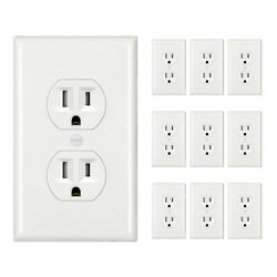 Dewenwils 10 Pack Wall Outlet Socket Decora Duplex Receptacle With Wallplates