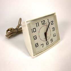 Wall Clock Vintage Retro General Electric Rare All White Kitchen 2h110 Ge