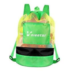 Beach BagExtra Large Mesh Beach Backpack Durable Adjustable Shoulder Green $17.37