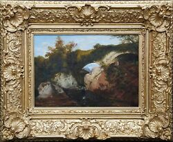 George Hickin British Victorian Art Welsh River Fishing Landscape Oil Painting