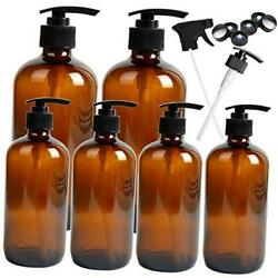 6 Pack Empty Glass Pump Bottles, 2 Pack 16 Ounce And 4 Pack 8 Ounce Pump Amber