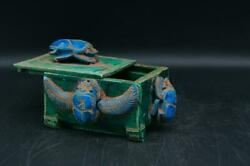 Egyptian Coffin Jewelry Box Scarab Winged Sculpture Pharaonic Heavy Stone Decor