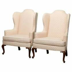 Antique Pair Of Drexel Heritage Queen Anne Style Wingback Chairs 20th Century
