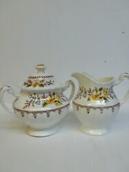 Jandg Meakin England Classic White Braemar Creamer And Sugar With Lid