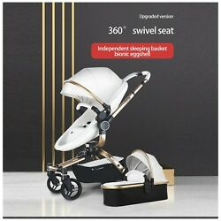 3 In 1 Baby Stroller And 2 In 1 Carriage Pu Leather New For Usa