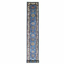 2and0399x25and039 Denim Blue Super Kazak Hand Knotted Pure Wool Xl Runner Rug R68601