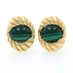 And Co. Schlumberger Shell Malachite Vintage Earrings Yellow Gold 18k Oval