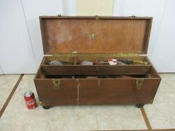 Vintage Carpentry Wooden Rolling Tool Chest Trunk Storage Box Filled With Tools