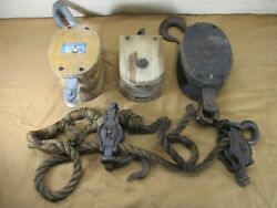 Antique Wood Wooden Block Tackle Barn Farm Pulleys Hooks And Rope Rustic Decor Lot