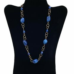 Women's Antiqued Gold Tone Blue Stones Brass S Hook Clasp Chunky Chain Necklace