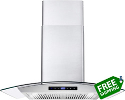 Cosmo 668wrcs75 Wall Mount Range Hood With Ducted Exhaust Vent 3 Speed Fan Sof