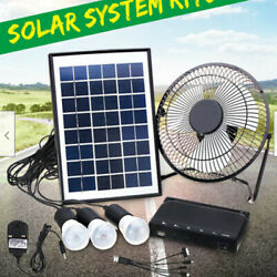 Solar Power Panel Usb Charging Led Light With Fan Kit For Home Outdoor Camping