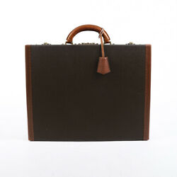 Vintage Louis Vuitton President Briefcase Brown Coated Canvas Leather