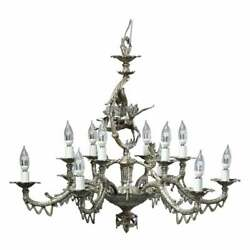 Antique Continental Gilt Silver Figural 12 Light Chandelier With Angel, C1930