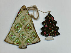 Etta B Pottery Christmas Holiday Ornament + Wooden Green Candy Canes Tree Lot 2