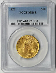 1926 Indian Head Eagle Gold 10 Ms 63 Pcgs