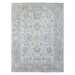 9and039x11and039 Hand Knotted Ivory Angora Oushak Extra Soft Wool Oriental Rug R68420