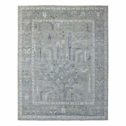8and039x9and03910 Angora Oushak Soft Afghan Wool Gray Hand Knotted Oriental Rug R68472
