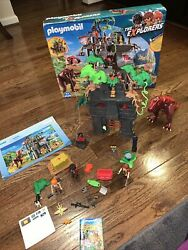 Playmobil Hidden Temple With T-rex, Box, And Flashlight 9429 The Explorers