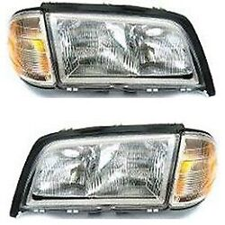 Halogen Headlight Set For 1997-2000 Mercedes Benz C230 Left And Right W/bulbs Pair