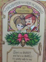 Vtg HIPPY Fashion Retro COUPLE DAUGHTER amp; Her HUSBAND CHRISTMAS GREETING CARD