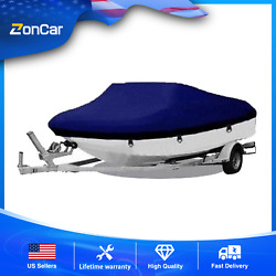 20-22ft 600d Oxford Fabric Waterproof Boat Cover W/storage Bag Blue High Quality