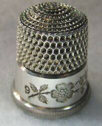 352 Etched Floral Band Sterling Silver Thimble - Simon's Bros.co. Size 9