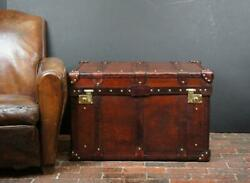English Antique Leather Campaign Chest Coffee Table Trunk