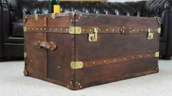 Large Antique Inspired Large Leather Coffee Table Trunk