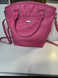 Thirty One Jewel Pink Tote Purse Crossbody Bucket Purse snap on Thirty One $30.99