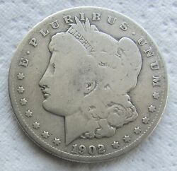 1902-s 1 Morgan Silver Dollar Rare Date Cleaned