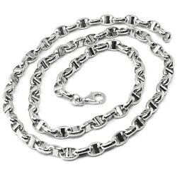 18k White Gold Chain Sailorand039s Navy Mariner Link Big Oval 5 Mm 24