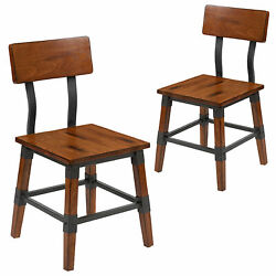 Home Living Room 2 Pack Rustic Antique Walnut Industrial Wood Dining Chair