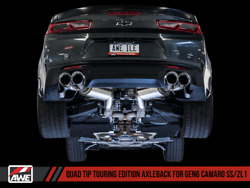 Awe Axle-back Exhaust Touring Quad Chrome Tips For 16-18 Chevrolet Camaro Ss