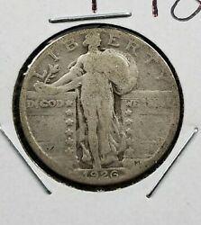 1926 S 25c Standing Liberty Silver Quarter Coin Ch Ag Die Crack @ Foot Variety