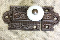 Old Cabinet Catch Jelly Cupboard Latch White Porcelain Knob Antique Fancy 3 3/8