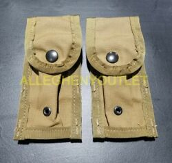 Lot Of 2 - Us Military Molle 9mm Single Magazine Pouch Coyote Brown Camo New