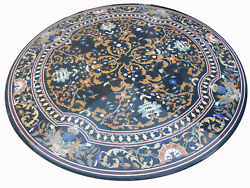 48 Round Marble Center Dining Table Top Pietra Dura Work Inlay Furniture
