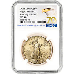 2021 American Gold Eagle Type 2 1 Oz 50 Ngc Ms70 First Day Issue Grade 70 Label
