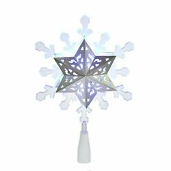 Blue And White Rotating Lights Snowflake Christmas Tree Topper 9 Inch Jel0306