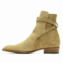 Mens Business Formal Pointy Toe Casual Real Suede Leather Chelsea Boots Shoes L