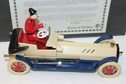 Very Nice Tucher And Walther Lever Wind Roadster Car With Driver And Box